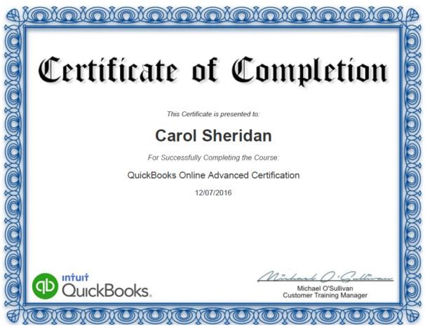 Cerificate QuickBooks